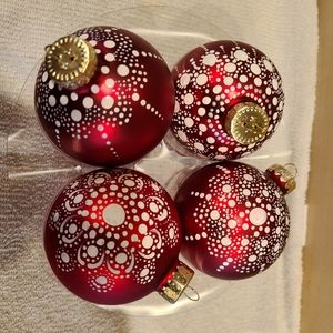 4 handpainted Christmas ornaments
